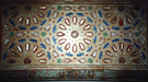Polychrome glazed earthenware tile in the green mosque in Meknes, Morocco
