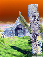 Digitally processed photograph of a psychadelic Welsh landscape,