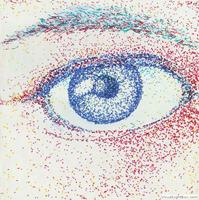 a pen drawing of an eye