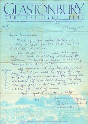 Contract Glastonbury 1985