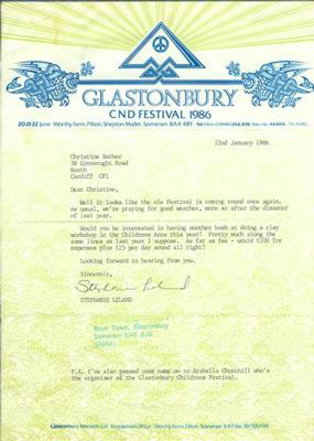 Contract Glastonbury 1986