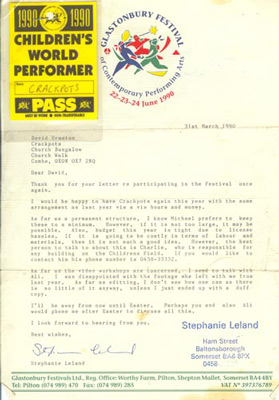 Contract Glastonbury 1990