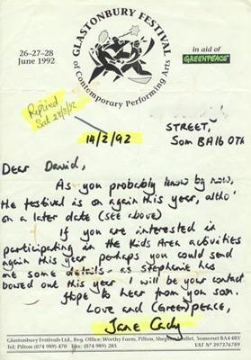 Contract Glastonbury 1992