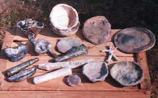 an assortment of raku fired ceramics