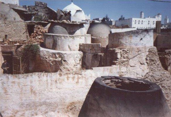 Traditional pottery kilns in Safi Morocco around 1987
