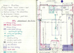 preliminary plans for the studio drawn in a note book